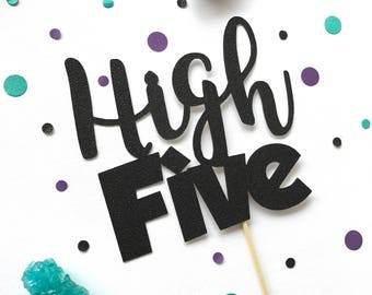High Five Glitter Cake Topper - 5th Birthday - Party Decor