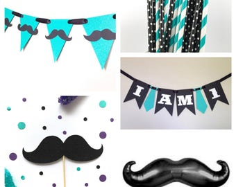 Mustache Party Package - Baby Shower - Little Man Birthday Decor - Fathers Day