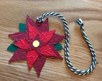 Handmade Christmas Poinsettia Gift Tags