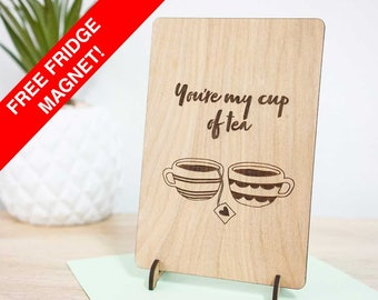 Wooden gift card. You're my cup of tea. Perfect friendship / love / I like you / Anniversary timber card.
