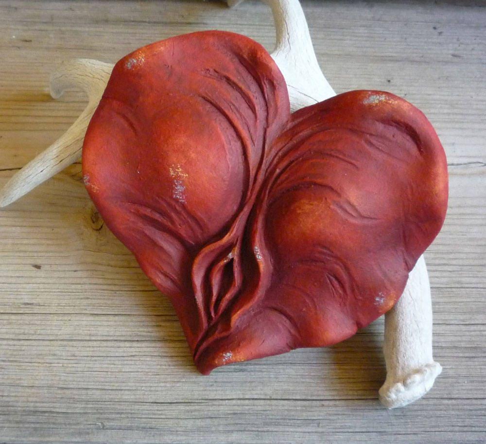 Reserved For Janet, Sacred Yoni Heart Sculpture, Sacred Feminine Art, Yoni Art Divine -3317