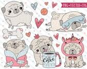 Kawaii Pug Clipart Images, Cute Pug Illustration Set, Commercial Use Clipart, Premium Vector, Dog Clipart, Cute Petshop Clipart, Pug Clipart
