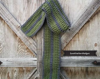 Green and Gray Textured Scarf