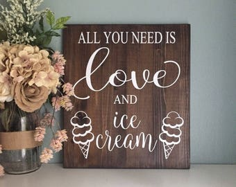 All You Need Is Love Sign, Wedding Table Sign, Dessert Table Sign, Wedding Sign, Rustic Wedding Decor, Wedding Dessert Sign, Love is Sweet