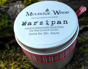 Handmade Christmas Marzipan Sweet Almond Scented Soy Wax Candle 30+ hours
