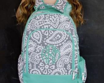Monogrammed Parker Paisley Backpack ~ Monogrammed girls backpack ~ Back to school backpack