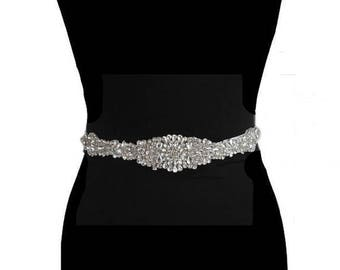 Bridal Sash, Wedding Dress Belt, Bridal Belt, Beaded Belt Sash,