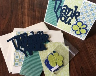 DIY Card Kit, Thanks, Thank You, 4Pk, Blank Inside, Card Making, Kids Craft, Greeting Card Kit, Premade Card