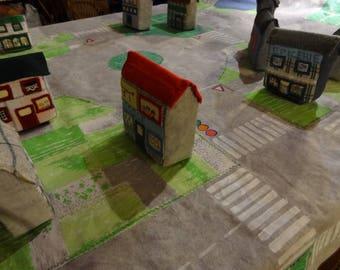 Tapis de jeu nomade, circuit de voitures, ville 3D. Jouet traditionnel fait main.