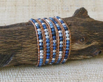 Beaded Leather Wrap Bracelet: Kyanite & Silver Mix/Blue Wrap Bracelet/5 Wrap Bracelet/Boho Bracelet/Gift for Her/3rd Anniversary/Aries Woman