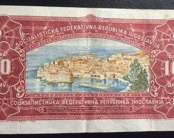 Old Dubrovnik,yugoslavia dinar,croatia banknote,1963