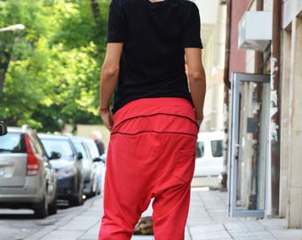Extravagant Cotton Pants, Warm Sport Pants, Loose Harem Pants, Casual Drop Crotch Pants, Side Zipper Pocket by SSDfashion