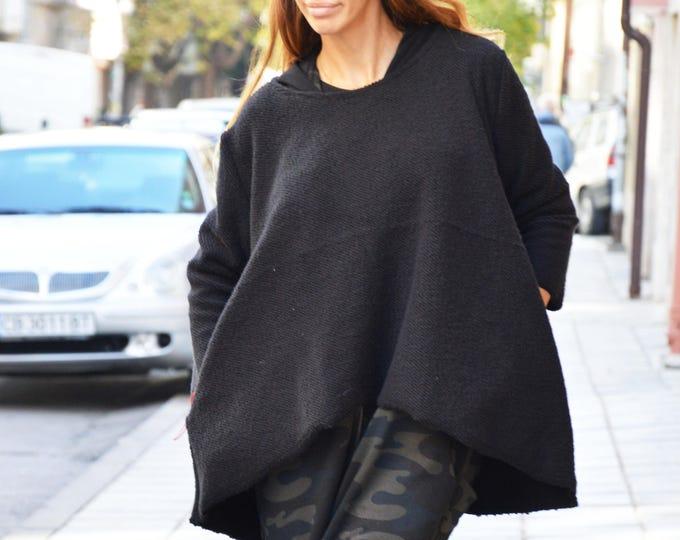 Black Loose Casual Tunic, Maxi Asymmetric Long Sleeves Blazer, Maxi Plus Size Tunic By SSDfashion