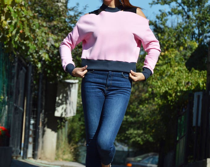 Baby Pink Extravagant Sweatshirt, Short Asymmetrical Top, Plus Size Oversize Sweater by SSDfashion