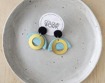 Brass Ring Earrings - Jet Black & Speckled Mint with a Brass Circle Ring.