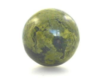 Serpentine sphere, serpentine crystal ball with stand, 55mm