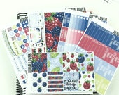 Berry Vertical Weekly Kit Stickers l Planner Stickers l Full Weekly Kit l Decorative Planner Stickers l Summer Stickers: BERRY DAY