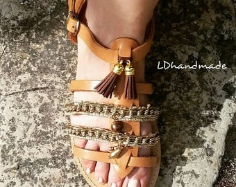 Greek  handmade leather sandals with gilded decorative,Leather tassels and linen fabric.