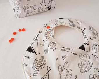 """Bib coloring certified oekotex """"or are Indians,"""" birth basket wipes and bib Kit."""