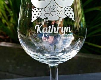 Cute Owl Engraved Wine Glass - Personalised - Handmade