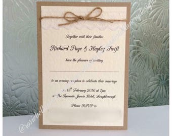 Personalised Wedding Invitation Vintage \ Rustic Lace Twine Day / Evening