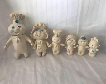 Vintage 1971-1974 Collectible Set of 6-Pillsbury Poppin Fresh Family Finger Puppets