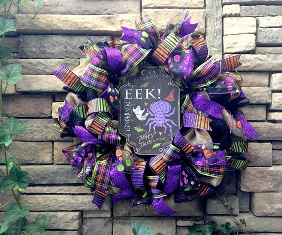 Primitive Halloween Wreath, Halloween Wreath, Burlap Wreath, Spider Wreath, Chalkboard Wreath, Halloween Decor, Primitive Halloween Decor