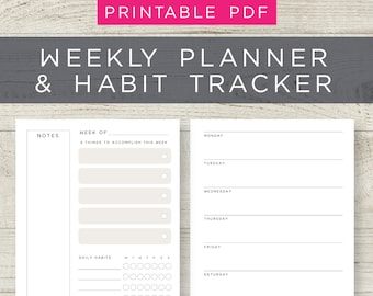 Printable daily and weekly planner, Weekly Planner inserts, Productivity planners, To do list, Weekly goal setting, Personal weekly planner