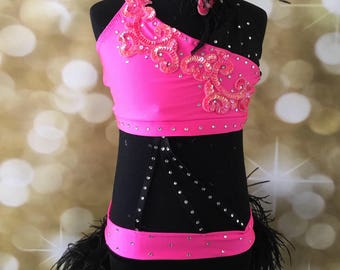 Jazz Dance costume; Black/Hot Pink Dance Costume, black jazz  Dance Costume, Dance costume ; custom Dance Costume, solo dance