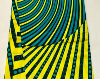 African Print Fabric/ Ankara - Teal, Yellow 'Eye of the Beholder', YARD or WHOLESALE