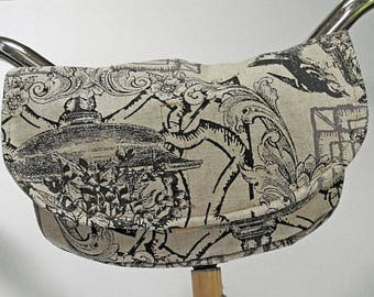 Bike Handlebar Bag / Cross shoulder Bag / Fanny Bag / Clutch Purse - Roman Garden