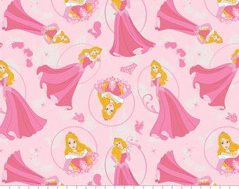 Disney Princess Aurora Sleeping Beauty Pink Camelot Premium 100% cotton fabric  (CA298)