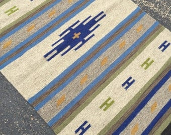 Native American Style Rug with Geometric Pattern in Ink Blue 3 x 5