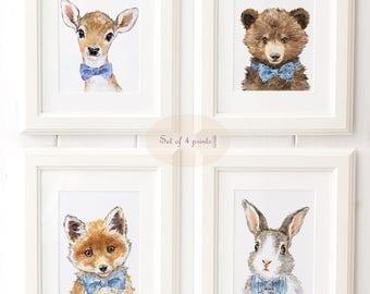 Woodland Nursery Art - Woodland animals print set of 4 - Animal Portrait Set  - Bunny print - Giclee - Bear Print - Fox Print
