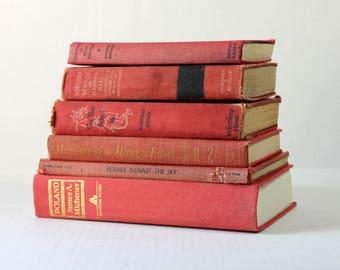 Decorative Antique Books, Vintage Book Set, Book Stack, Decorative Books, Old Books for Decor, Vintage Book Bundle, Home Decor Books, Red