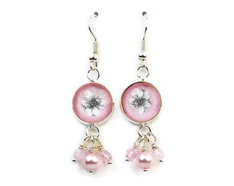 Vintage Style Pink Flower Dangle Earrings with Swarovski Pearls and Crystals