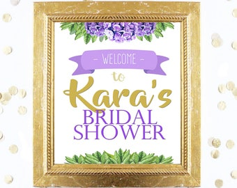 Bridal or Baby Shower Welcome Sign Customized - Floral Purple - Instant Printable Digital Download hydrangea and Gold Glitter Confetti Sign