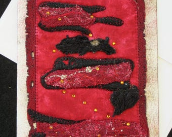 Red & Black Fiber Art Card, OOAK Fabric Art Card,  Quilted Handmade Card, Card for Anyone, Unique Gift Idea