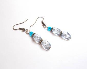 Bohemian blue glass beads and blue dangling earrings