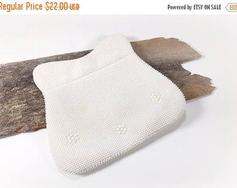 ON SALE Vintage Ivory White Beaded Clutch Bag Purse, Small Evening Formal Beaded Convertible Clutch, Summer Wedding, Bridal, Bride