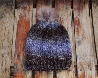 Black, Gray, Purple Tones Ombré Knit Beanie with Pom Pom - Slouchy Ombre Knitted Hat Cap with Faux Fur Pompom