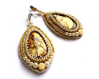 Boucles d'oreilles jaspe d'Australie, boucles d'oreilles perles brodées, bijoux uniques