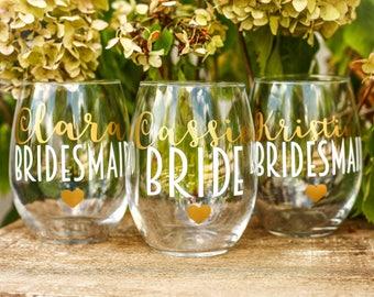SET OF 8, bridesmaids cups, bachelorette cups, wedding cups, initial wine glasses, custom wine glass, custom wedding gift, bachelorette cup