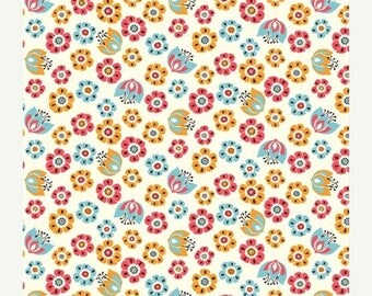 ON SALE 10% Off Organic Cotton Fabric in Tulip Toss from the Frolic Collection by Birch Fabrics  - UK Seller -