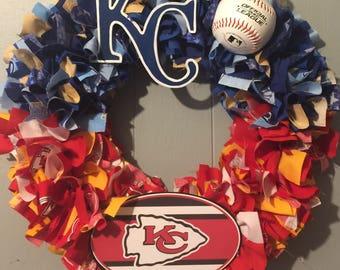 Kansas City Royals and Kansas City Chiefs wreath