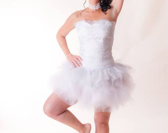 Short bridal dress and tulle wedding tutu tulle skirt