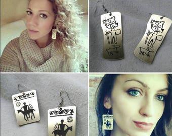 Tribal Earrings - Dangle Earrings -Geometric Earrings - Native Jewelry - Ethnic Earrings - Aztec Earrings - Black and Gold - Gift for woman
