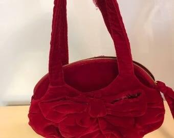 Vintage Red Velvet Purse