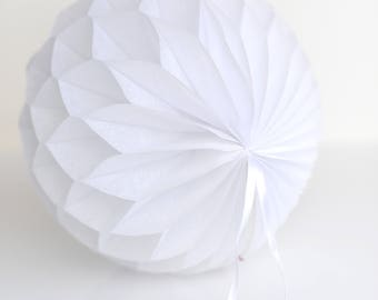 White tissue paper honeycombs -  hanging wedding party decorations