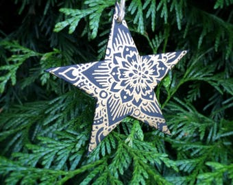 Mandala Moonphase Star Ornament for Christmas or Altar